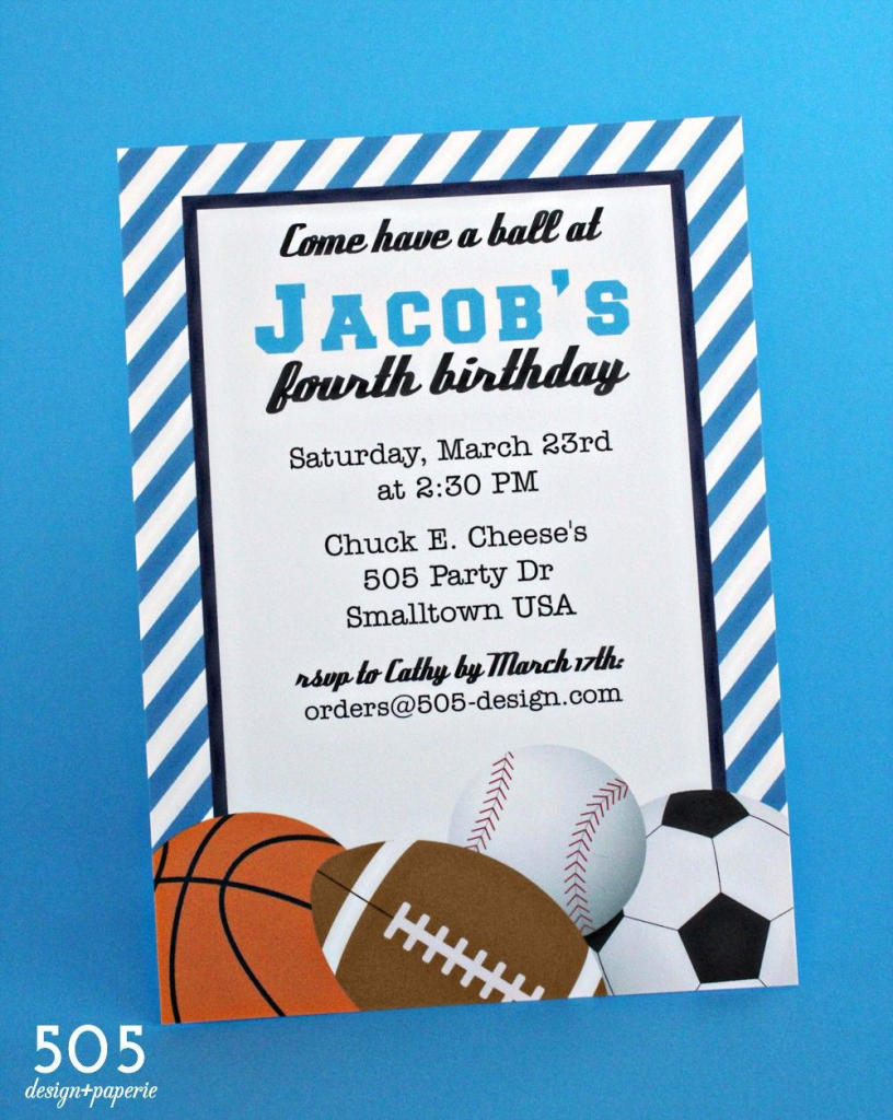 Free Printable Birthday Invitations For Boys Sports | Jamie's 13Th | Printable Sports Birthday Cards