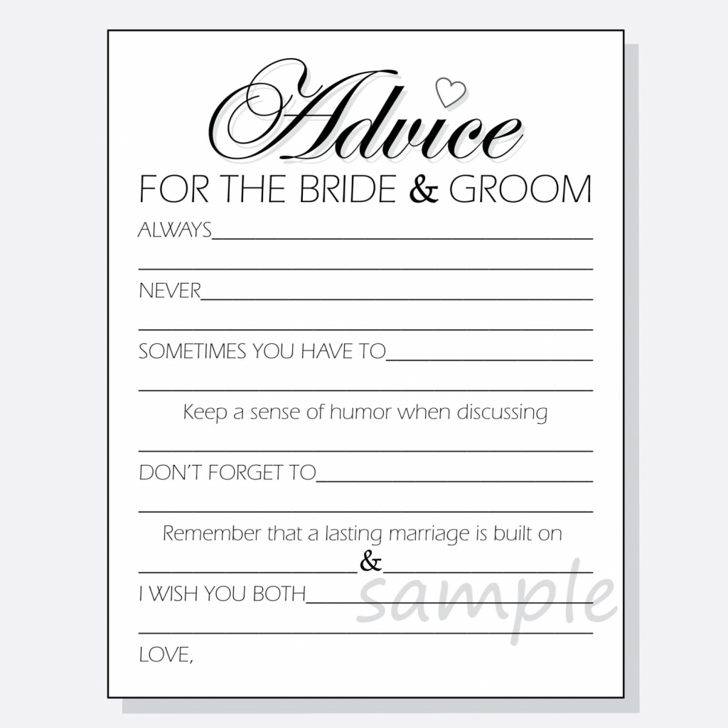 Free Printable Bridal Shower Advice Cards | Free Printables | Free Printable Bridal Shower Advice Cards