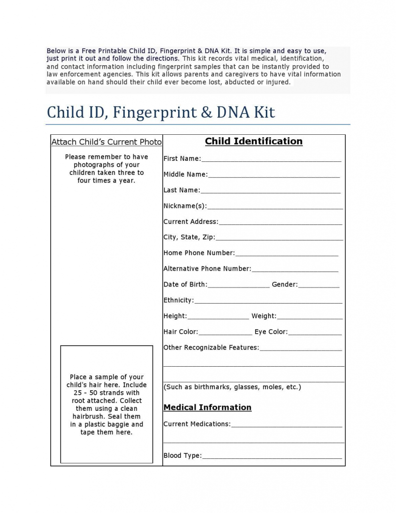 Free Printable Child Id Card | Child Binder | Children, Printables | Free Printable Child Identification Card
