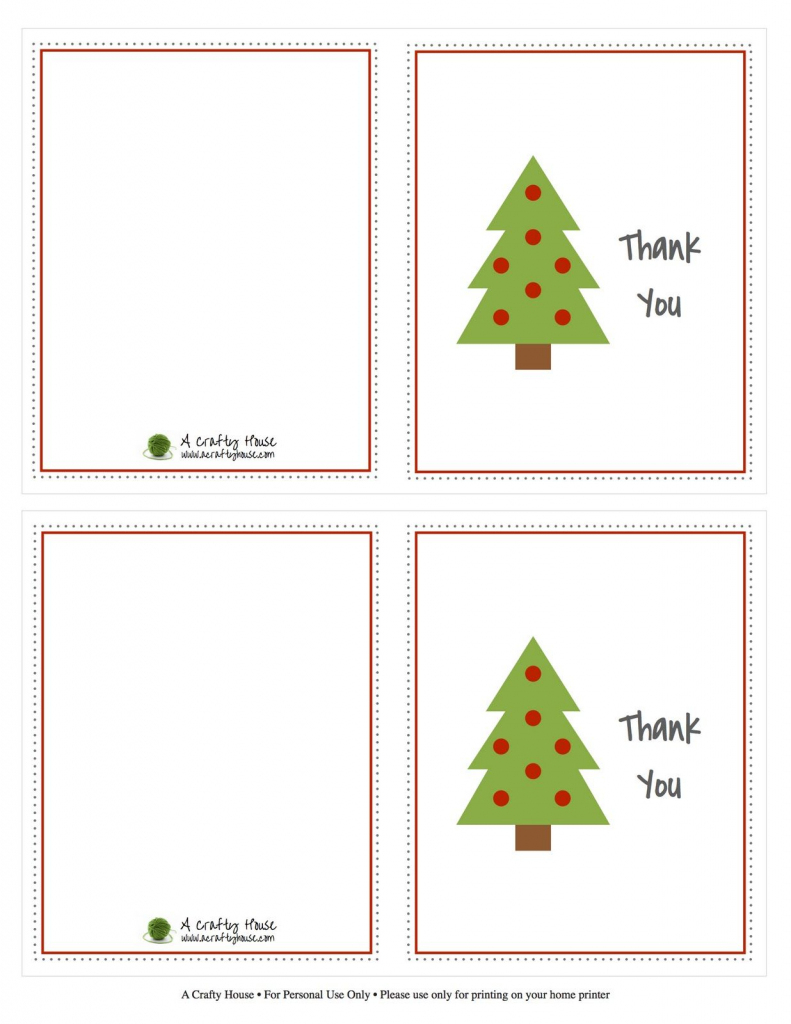 Free Printable Christmas Card Thank You Note | A Crafty House | Christmas Thank You Cards Printable Free