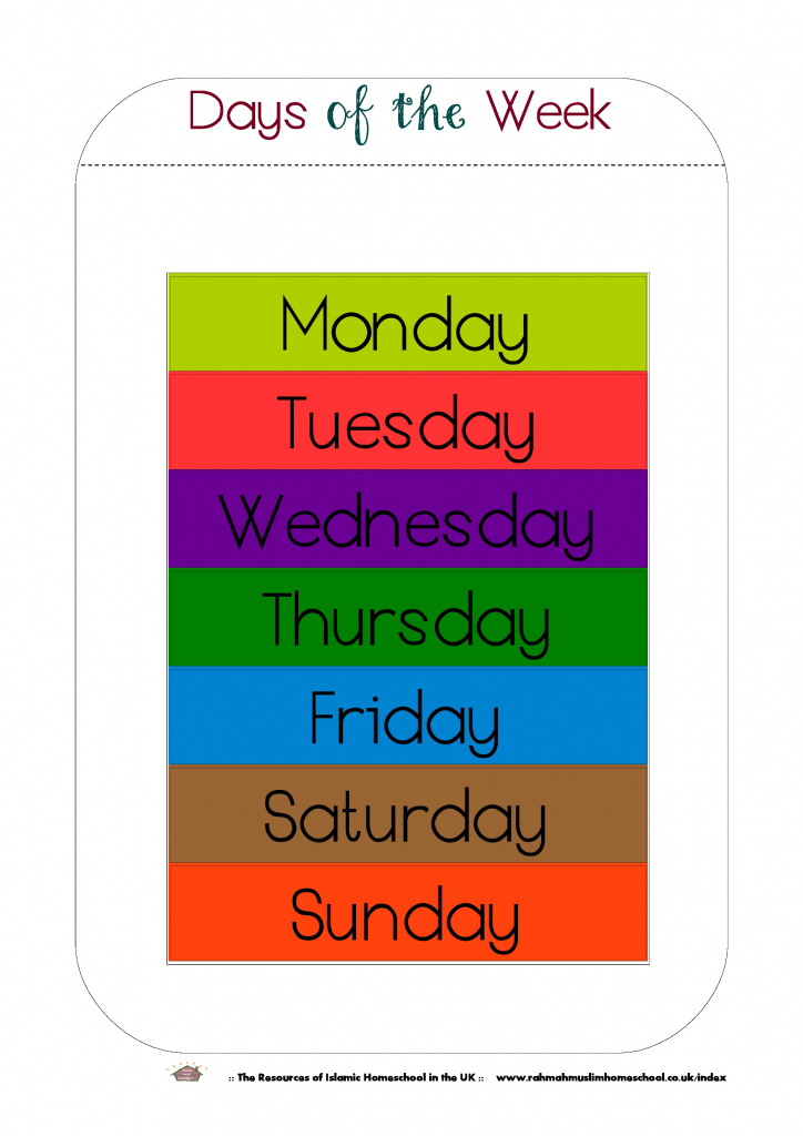 Free Printable Days Of The Week Workbook And Poster | The Resources | Free Printable Days Of The Week Cards