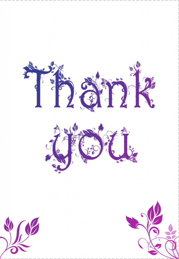 Free Printable Decorated Thank You Card Greeting Card-----Great Site | Thank You Card Free Printable Template