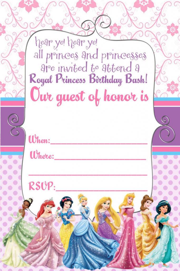 Free Printable Disney Princess Ticket Invitation | Printable | Free Printable Princess Invitation Cards