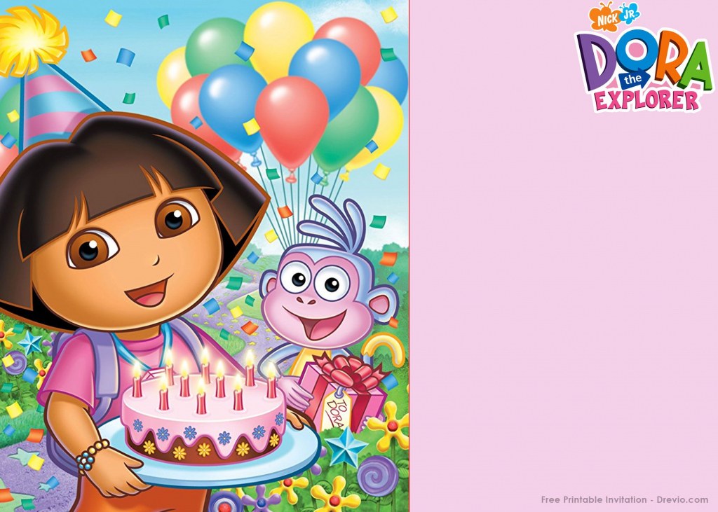 Free Printable Dora The Explorer Party Invitation | Birthday | Dora Birthday Cards Free Printable