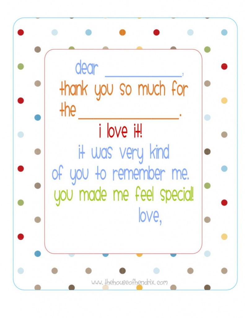 Free} Printable Fill In The Blank Thank You Note (Polka Dots) | Misc | Fill In The Blank Thank You Cards Printable Free