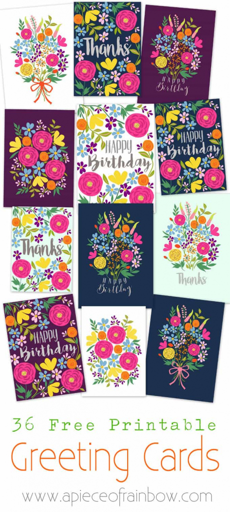 Free Printable Flower Greeting Cards - A Piece Of Rainbow | Free Printable Bday Cards