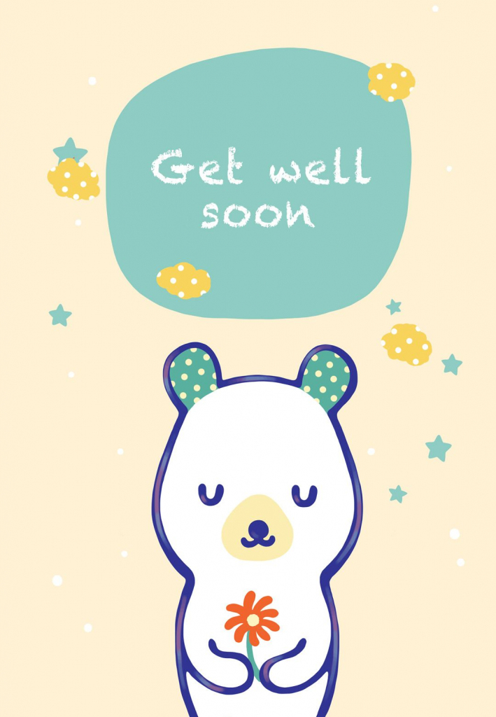 Free Printable Get Well Teddy Bear Greeting Card | Littlestar Cindy | Feel Better Card Printable