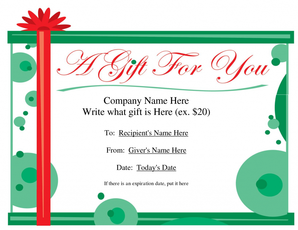 Free Printable Gift Certificate Template | Free Christmas Gift | Free Printable Christmas Gift Cards