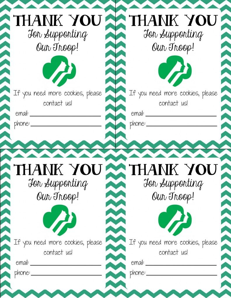 Free Printable! Girl Scout Cookie Thank You Cards | Girl Scouts | Free Printable Eagle Scout Thank You Cards