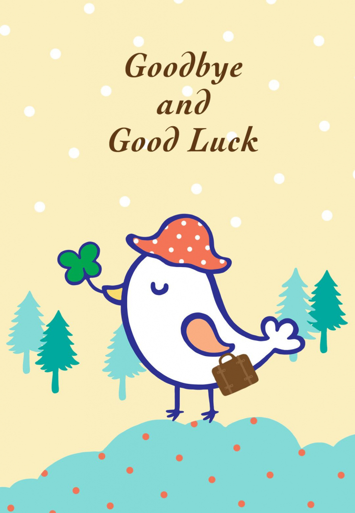 Free Printable Goodbye And Good Luck Greeting Card | Littlestar | Free Printable Goodbye Cards