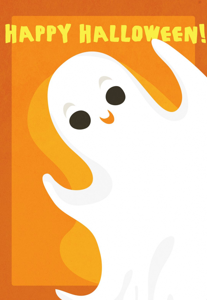 Free Printable Halloween Ghost Greeting Card | Halloweenie | Free Printable Halloween Cards
