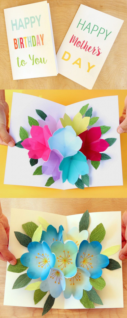 Free Printable Happy Birthday Card With Pop Up Bouquet - A Piece Of | Free Printable Birthday Pop Up Card Templates