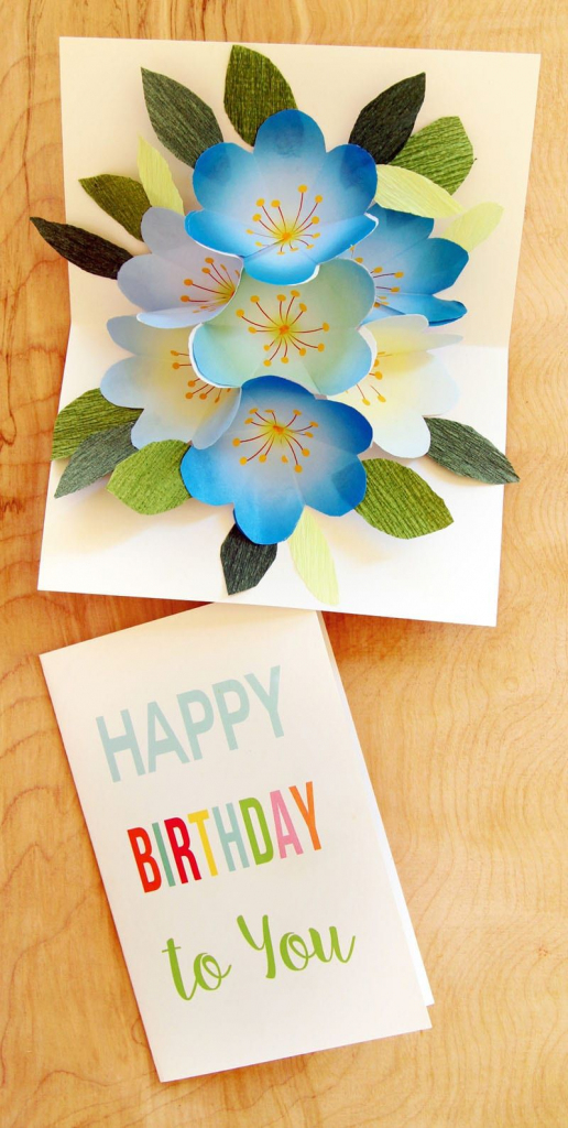 Free Printable Happy Birthday Card With Pop Up Bouquet | Diy | Free Printable Birthday Pop Up Card Templates