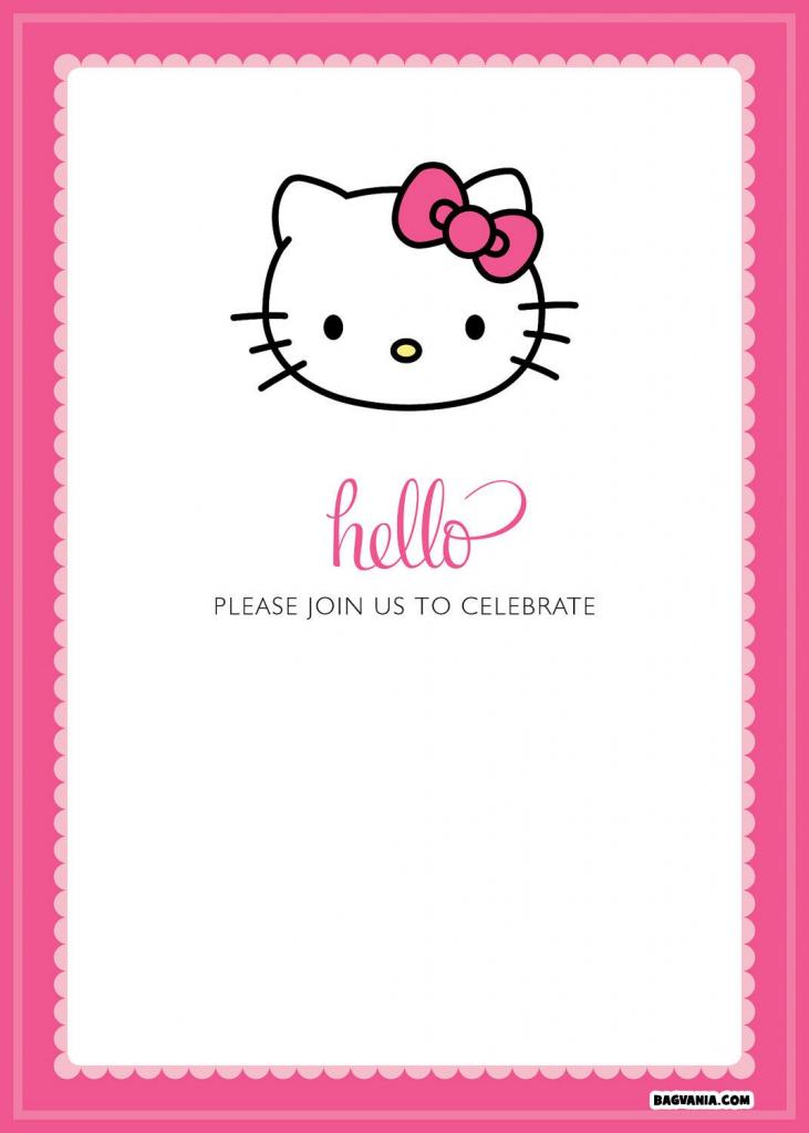 Free Printable Hello Kitty Birthday Invitations – Bagvania Free | Hello Kitty Birthday Card Printable Free