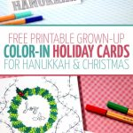 Free Printable Holiday Cards Adult Coloring Pages   Hanukkah + Christmas | Printable Hanukkah Cards To Color