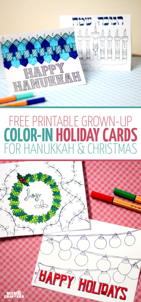 Free Printable Holiday Cards Adult Coloring Pages - Hanukkah + Christmas   Printable Hanukkah Cards To Color