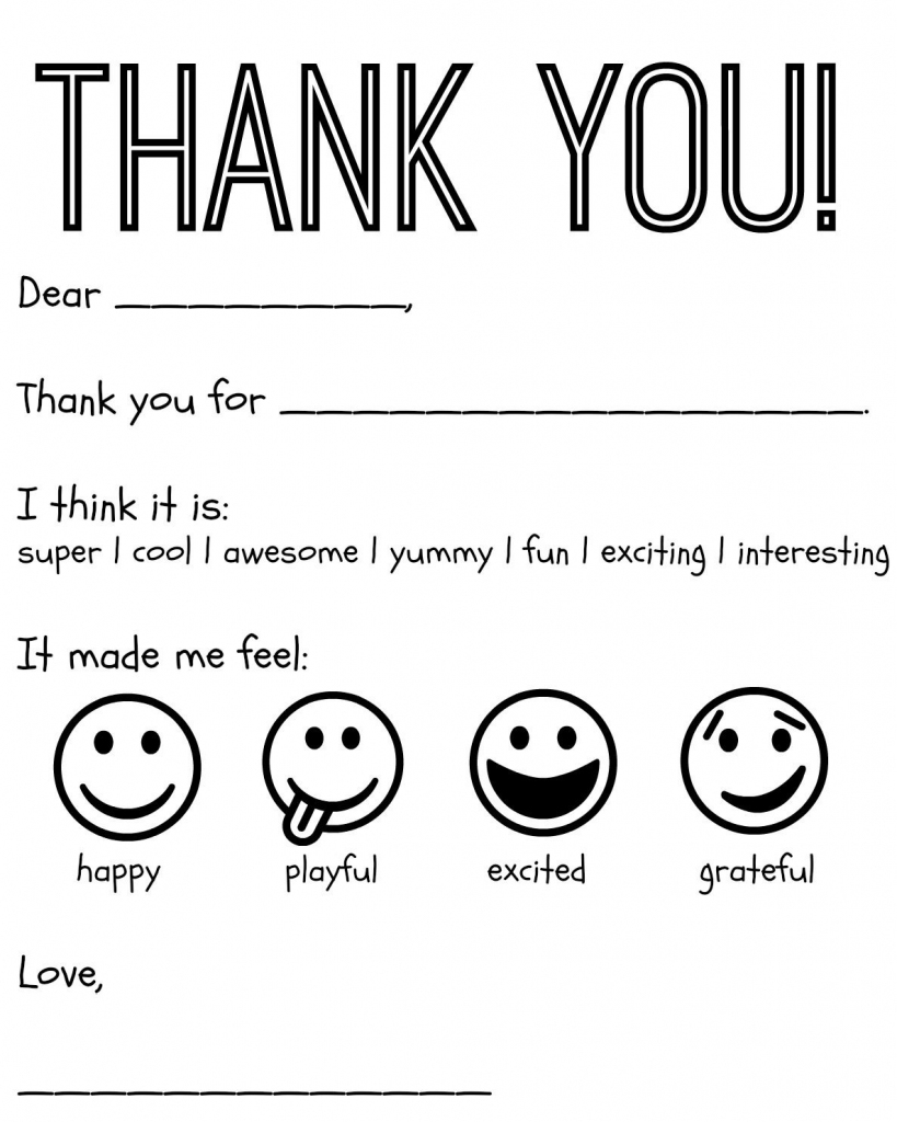 Free Printable Kids Thank You Cards To Color   Thank You Card   Free Printable Thank You Cards Black And White