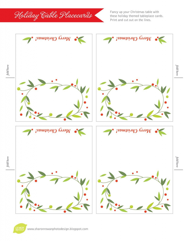 Free Printable Lemon Squeezy: Day 12: Place Cards   Work Stuff   Free Printable Christmas Table Place Cards Template