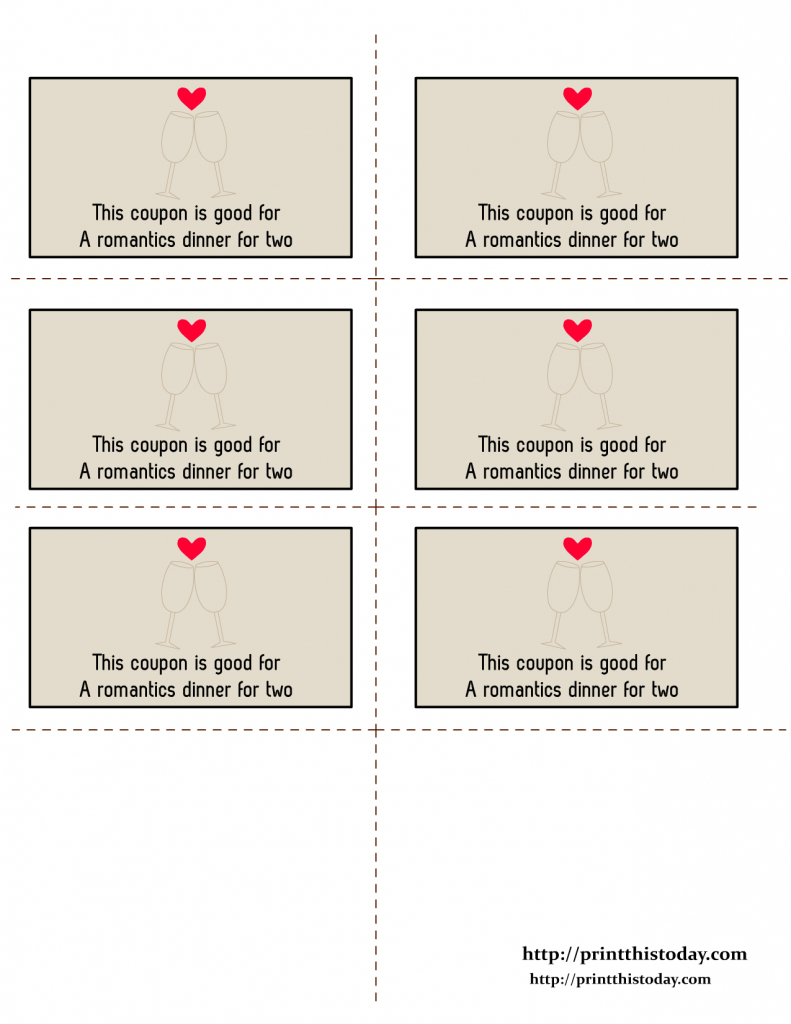 Free Printable Love Coupons | Printable Romantic Cards For Her