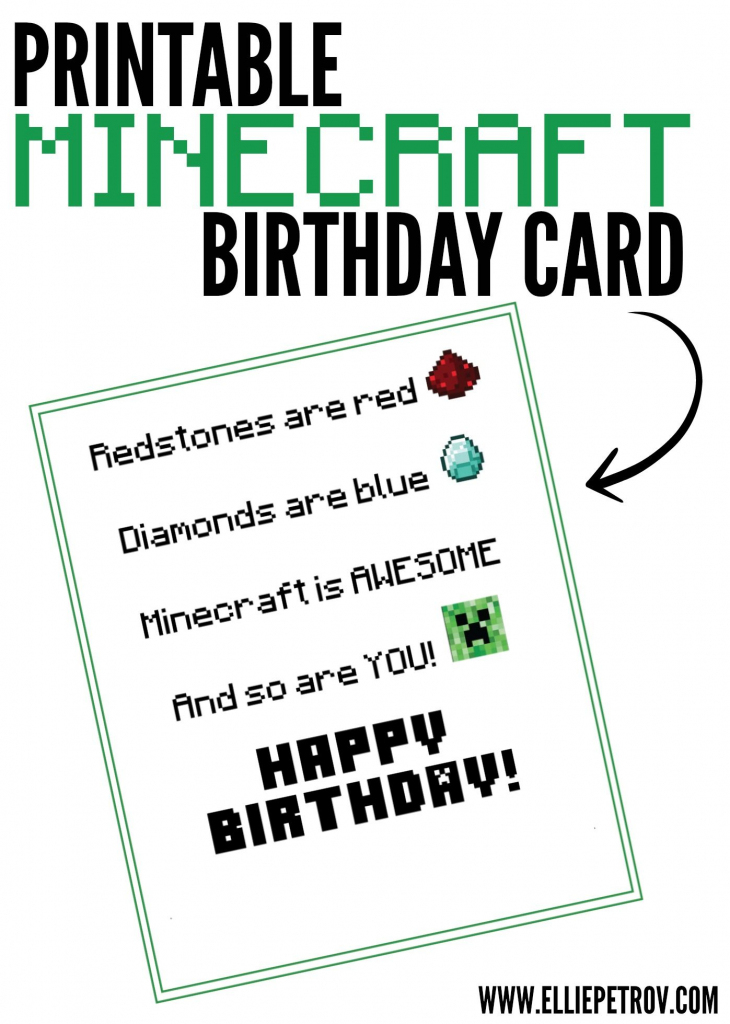 Free Printable Minecraft Birthday Card | Papercrafting | Minecraft | Minecraft Birthday Card Printable