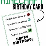 Free Printable Minecraft Birthday Card   Papercrafting   Minecraft   Printable Birthday Cards For Kids