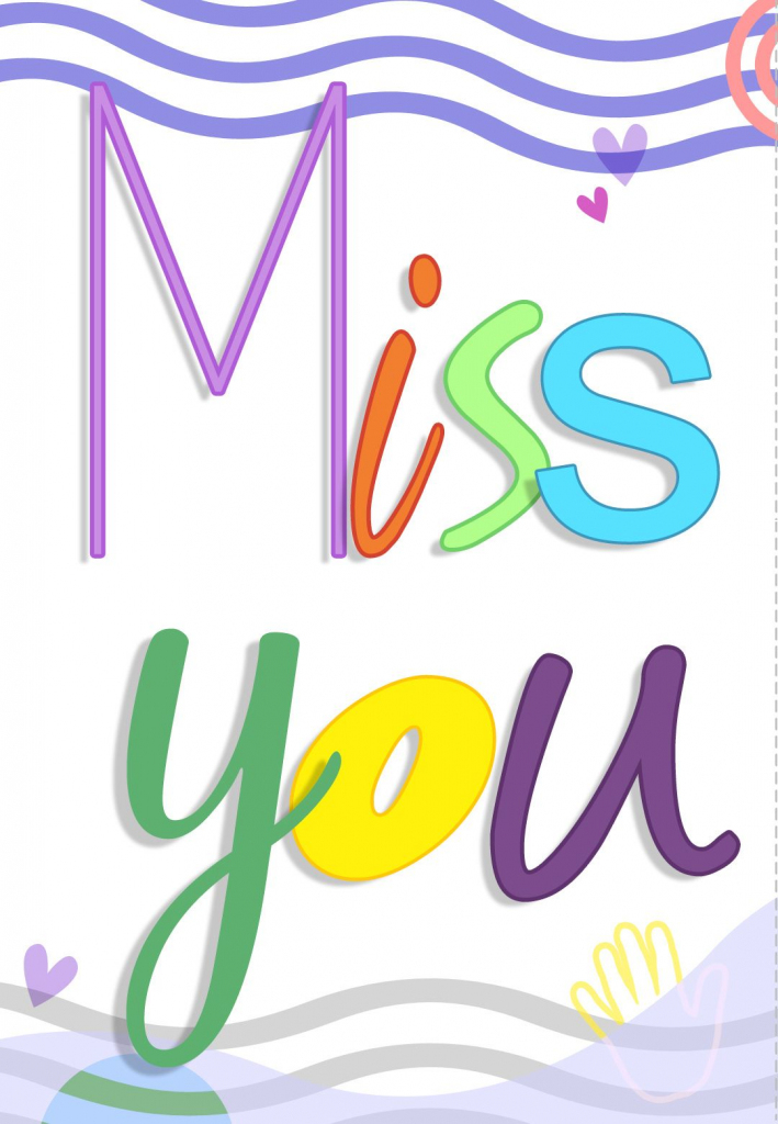 Free Printable Miss You Colored Greeting Card | Printables | Miss | Printable Miss You Cards