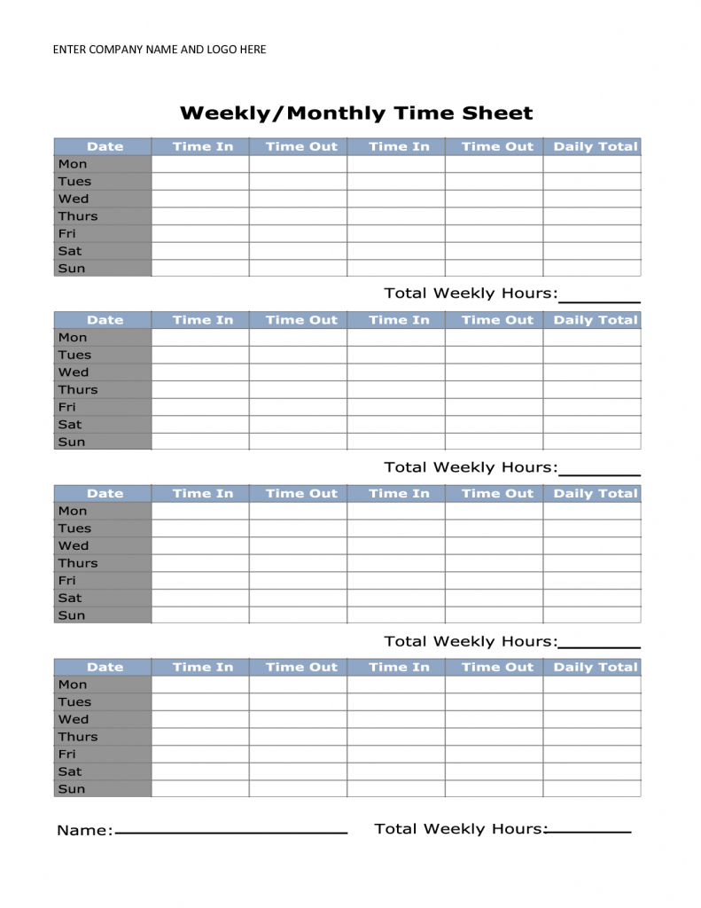 Free Printable Monthly Time Sheets | Time Sheet | Time Sheet | Time Card Templates Free Printable
