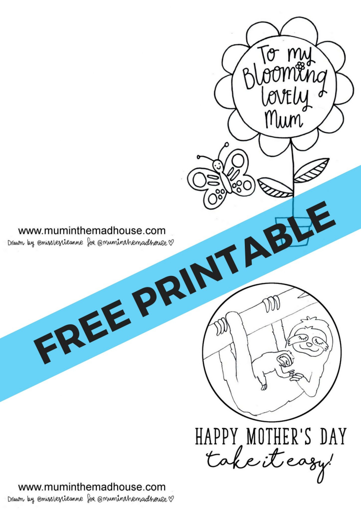 Free Printable Mother's Day Cards To Colour - Mum In The Madhouse | Printable Mothers Day Cards For Kids To Color