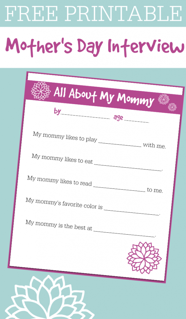 Free Printable Mother's Day Interview For Kids - No Time For Flash Cards | Printable Mothers Day Cards For Preschoolers