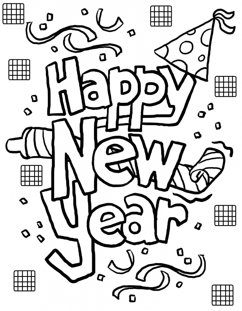 Free Printable New Years Coloring Pages For Kids | Coloring | Free Printable Happy New Year Cards