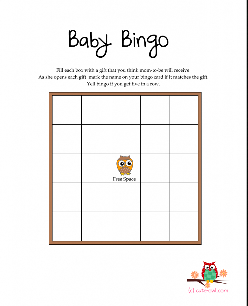 Free Printable Owl Themed Baby Shower Games | Woodland Animal Themed | Free Printable Baby Shower Bingo Cards