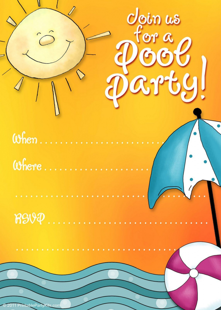 Free Printable Party Invitations: Summer Pool Party Invites | Free Printable Pool Party Invitation Cards