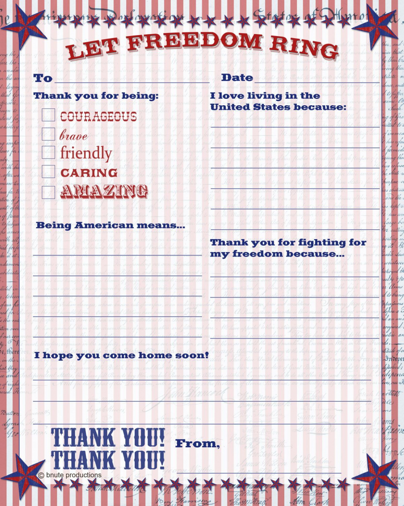 Free Printable Patriotic Thank You Letter - Letter To The Troops | Free Printable Thank You Cards For Soldiers