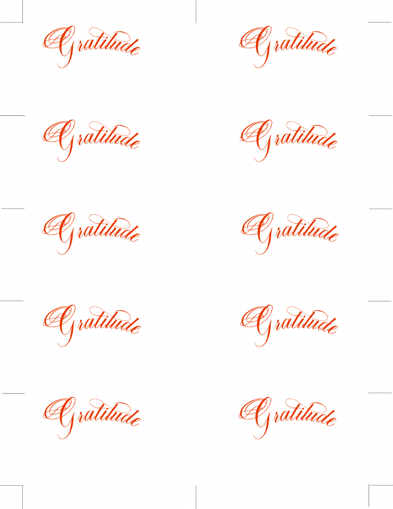 Free Printable Place Cards In Calligraphy Font: Gratitude | Free Printable Place Cards