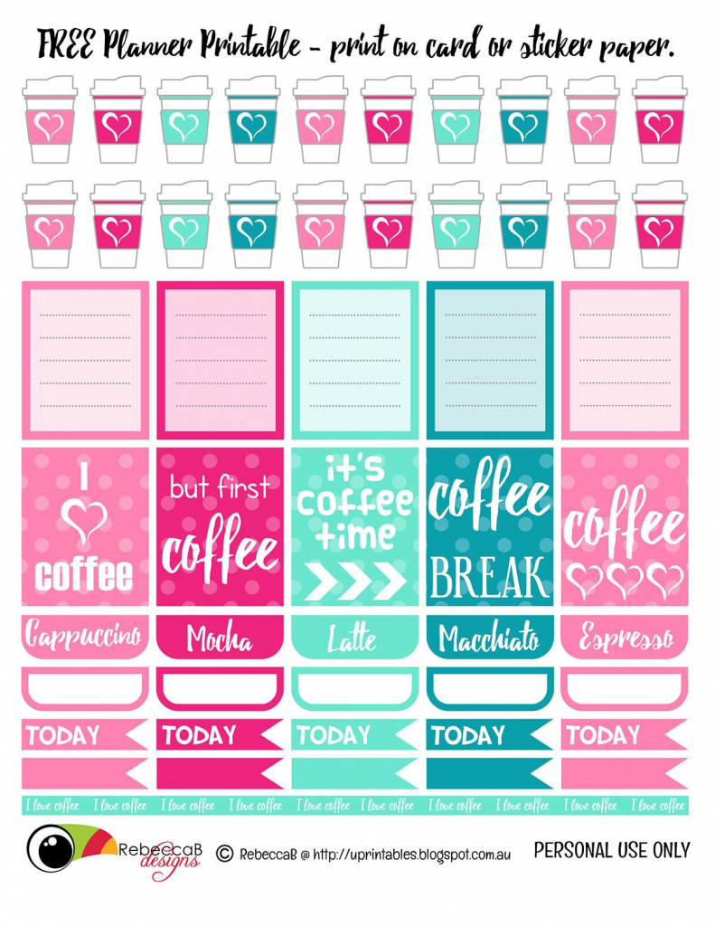 Free Printable Planner Stickers - Coffee. Print These Planner | Free Printable Card Stock Paper