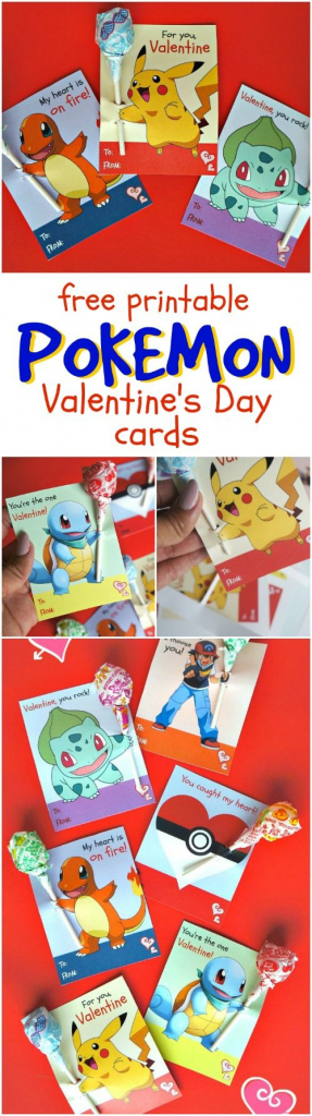 Free Printable Pokemon Valentine's Day Cards - 6 Designs With | Pokemon Valentine Cards Printable