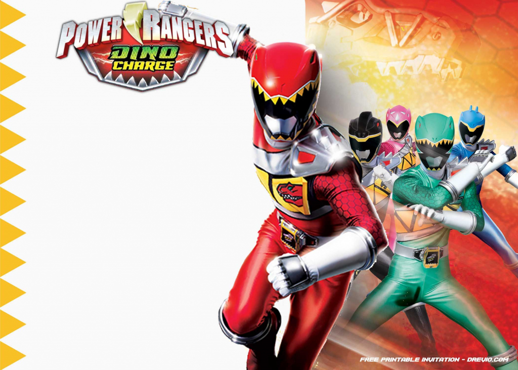 Free Printable Power Rangers Dino Charge Invitation | Desserts | Power Rangers Birthday Card Printable