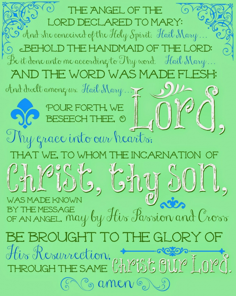 Free Printable Prayers For Your Printing And Praying Pleasure, And A | Angelus Prayer Card Printable