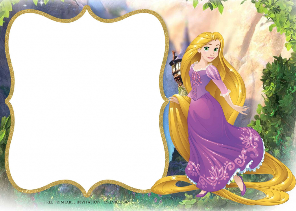 Free Printable Princess Rapunzel Invitation | Free Printable | Printable Rapunzel Birthday Card
