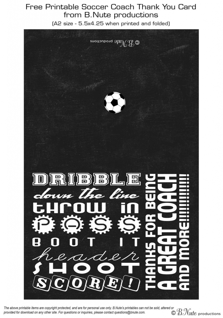Free Printable Soccer Coach Thank You Card From B.nute Productions | Free Printable Soccer Thank You Cards