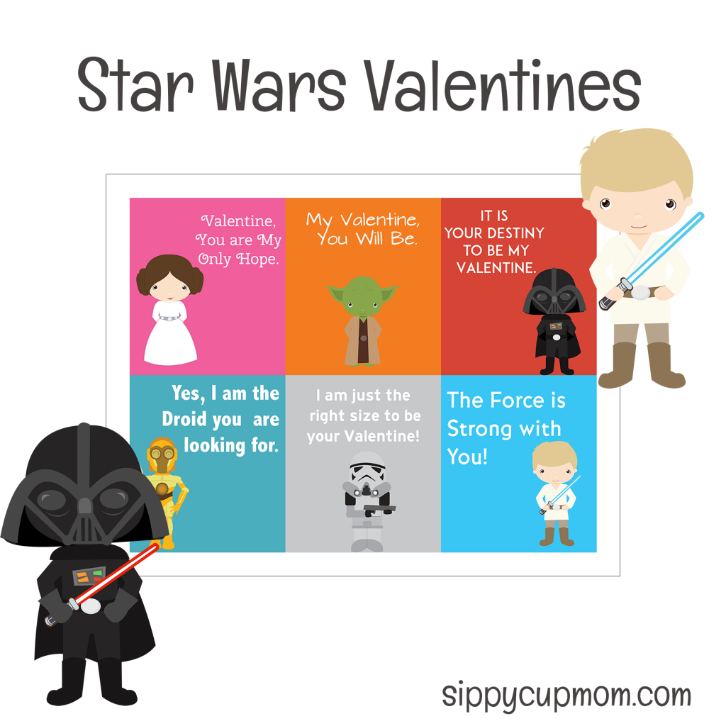 Free Printable Star Wars Valentine's Day Cards - Sippy Cup Mom | Free Printable Valentines Day Cards For Mom And Dad