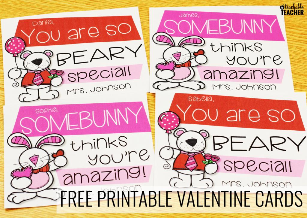 Free Printable Teacher Valentine Cards - A Teachable Teacher | Printable Valentine Cards For Teachers