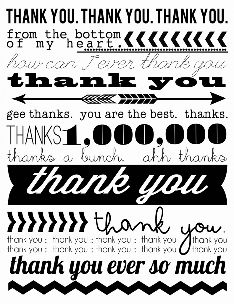 Free Printable Thank You Certificates New Free Printable End Of The | Printable Thank You Card Black And White