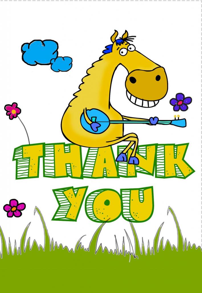 Free Printable Thank You Greeting Card | Free Printable Thank You | Horse Thank You Cards Printable