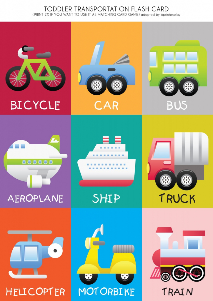 Free Printable - Transport Theme Flash Card | Print En Play | Free Printable Matching Cards