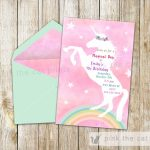 Free Printable Unicorn Invitations | Freebies | Unicorn Invitations | 7Th Birthday Card Printable