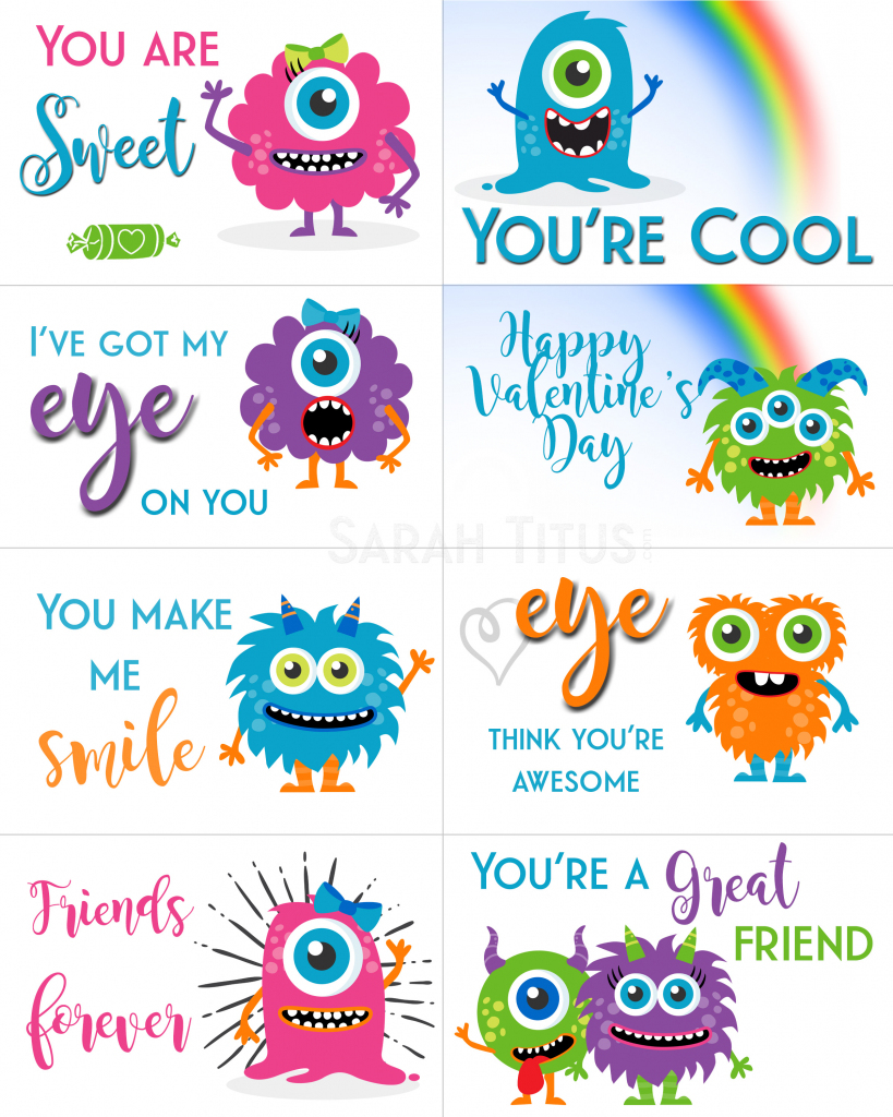 Free Printable Valentine Cards - Sarah Titus | Printable Valentine Cards For Kids
