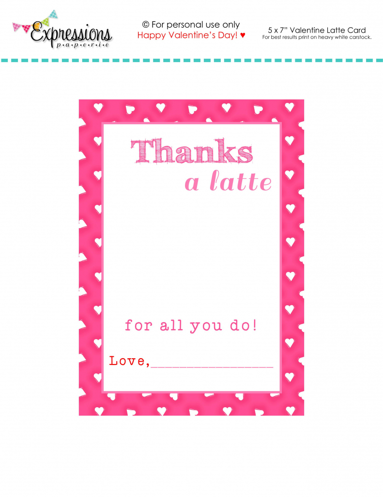 "Free Printable Valentine ""thanks A Latte"" Teacher Card 