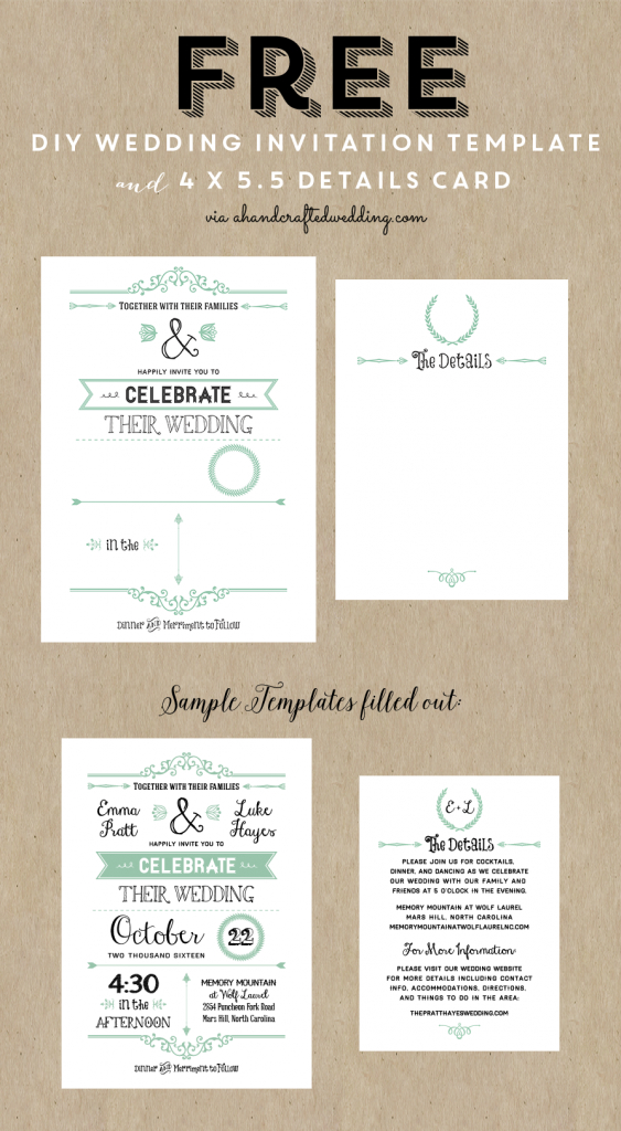 Free Printable Wedding Invitation Template | Wedding | Wedding | Printable Wedding Invitation Card Sample