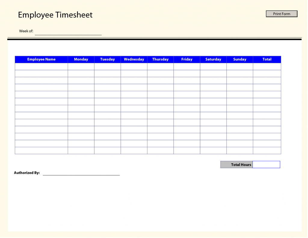 Free Printable Weekly Employee Time Sheets - Kleo.bergdorfbib.co | Employee Time Card Template Printable